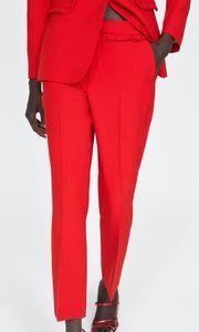 e917ddb1 Zara Pants   Red Trouser With Frill Trim On Waist   Poshmark